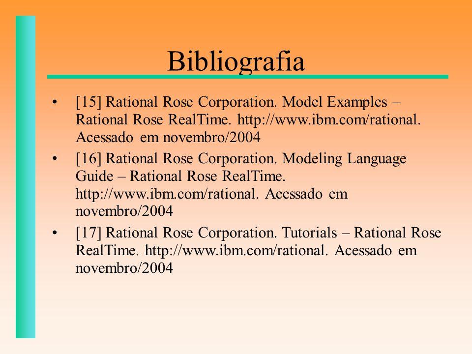 Bibliografia[15] Rational Rose Corporation. Model Examples – Rational Rose RealTime. http://www.ibm.com/rational. Acessado em novembro/2004.